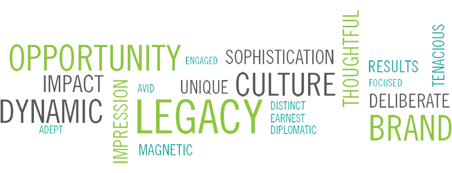 "word cloud with generic business terms such as ""opportunity, legacy, culture, branding, and unity"